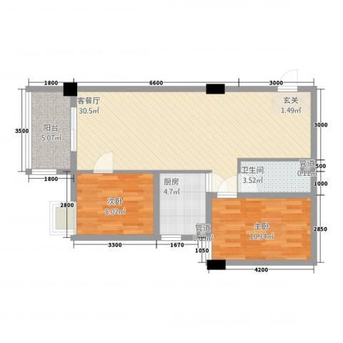 瑞阳首座2室1厅1卫1厨87.00㎡户型图