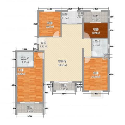 世贸广场4室1厅2卫1厨165.00㎡户型图