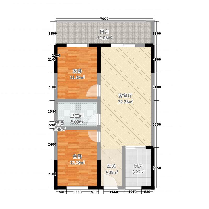 阳光小区三期阳光大厦18.22㎡2#户型2室2厅1卫1厨