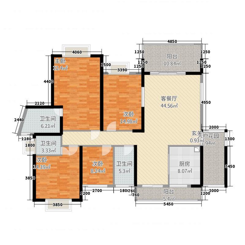 南国豪苑185.51㎡B区7幢01户型4室2厅3卫1厨