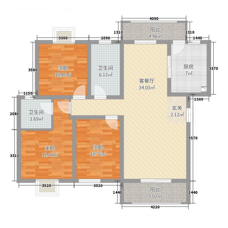 恒源广场113.00㎡D户型3室2厅2卫1厨