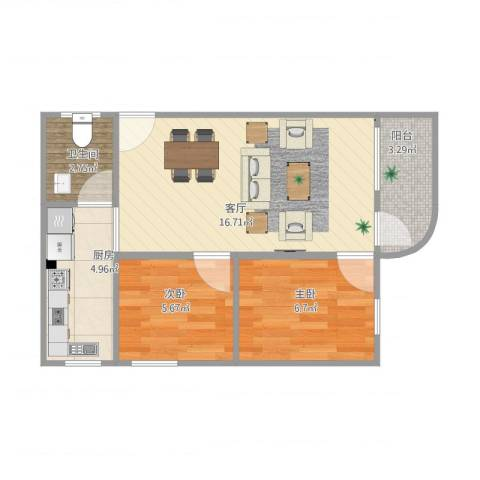 金道花园2室1厅1卫1厨55.00㎡户型图