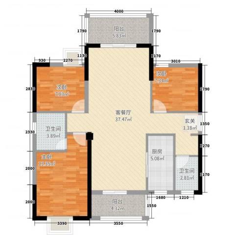 时代名苑3室1厅2卫1厨88.10㎡户型图