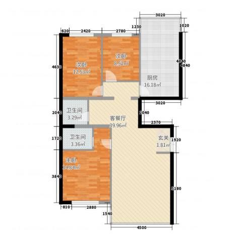金安桃源城市3室1厅2卫1厨98.70㎡户型图