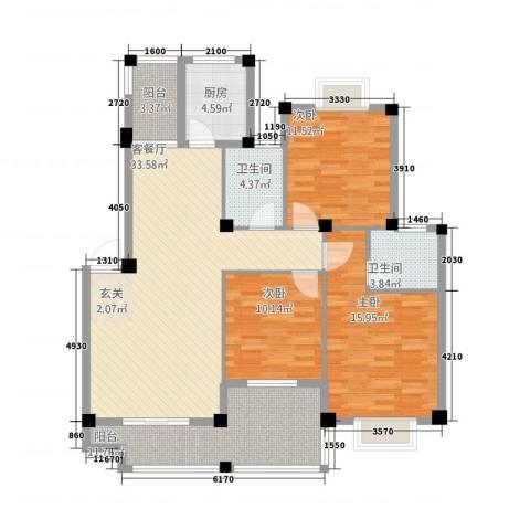 金桂名苑3室1厅2卫1厨112.42㎡户型图