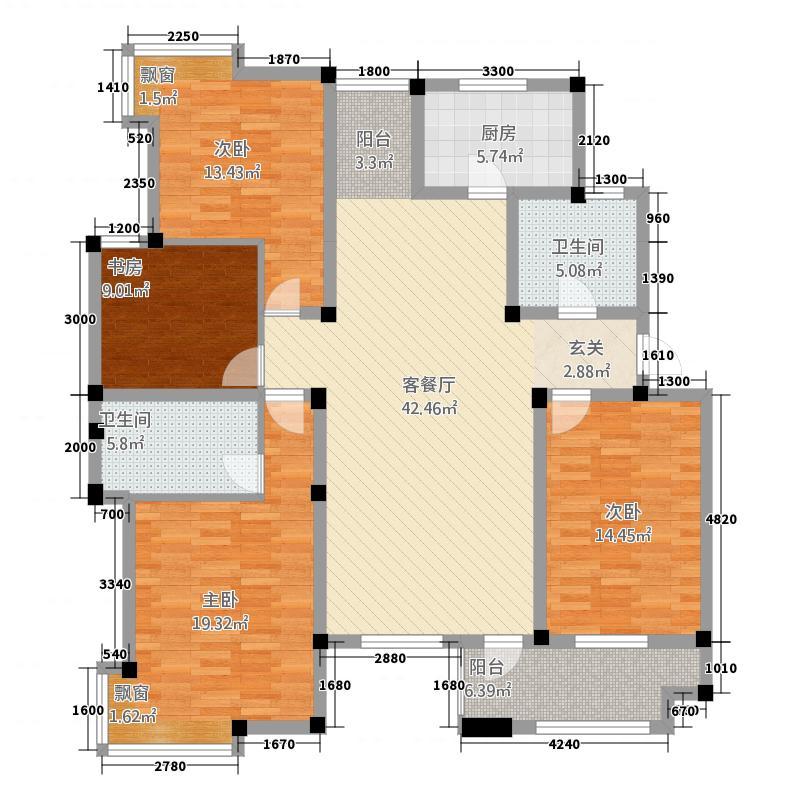 天都花园4142.12㎡户型4室2厅2卫1厨