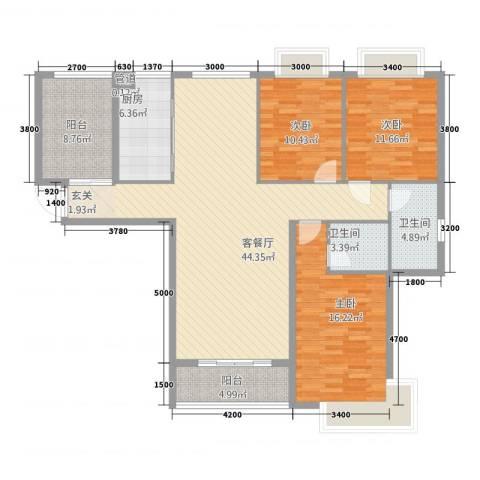 金桂名苑3室1厅2卫1厨124.65㎡户型图