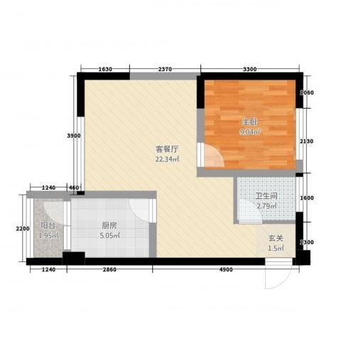 东方阁1室1厅1卫1厨3157.00㎡户型图