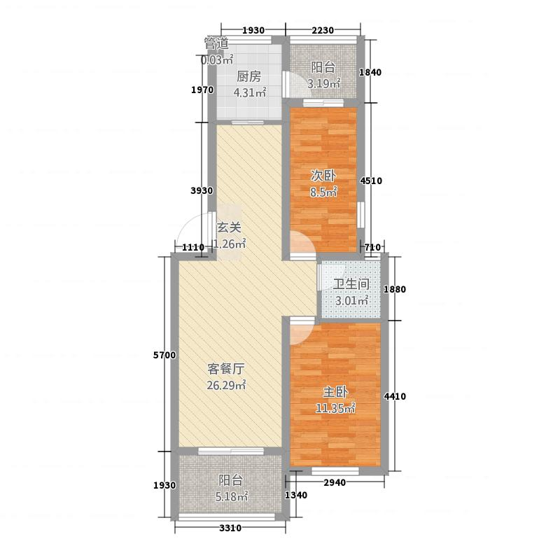 西城映象8.82㎡B2户型2室2厅2卫1厨