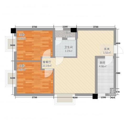 瑞阳首座2室1厅1卫1厨75.00㎡户型图