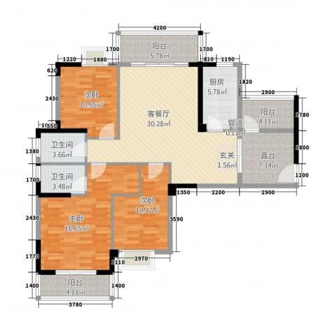 水岸・新城3室1厅2卫1厨149.00㎡户型图