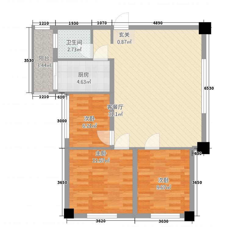 广厦・江山悦88.20㎡F库・88M²户型3室2厅1卫1厨