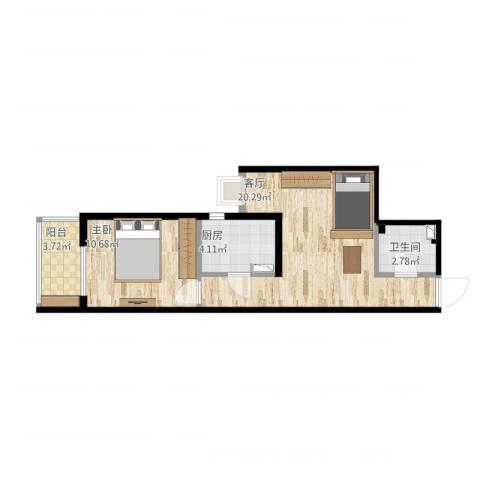 都市馨园1室1厅1卫1厨60.00㎡户型图