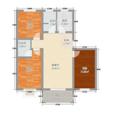 枫岭苑二期3室1厅2卫1厨73.11㎡户型图