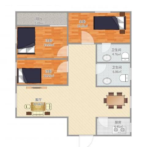 龙珠花园3室1厅2卫1厨135.00㎡户型图