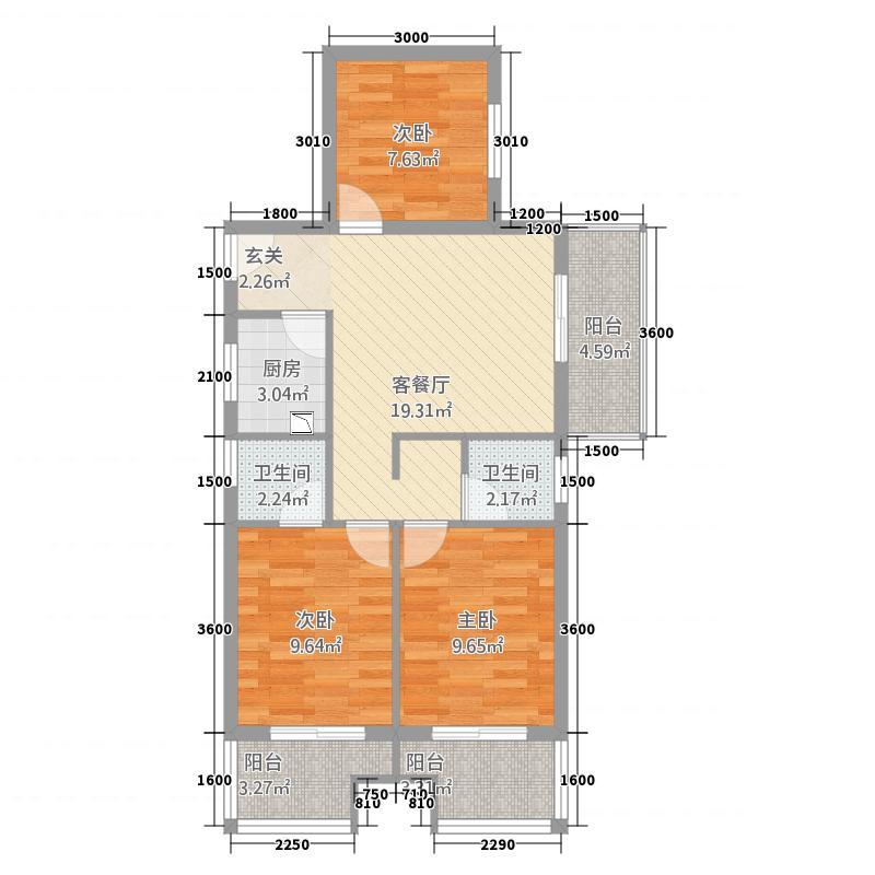 聚福广场86.50㎡A户型3室2厅2卫1厨