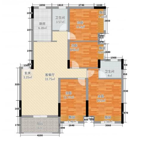 淮北凤凰城4室1厅2卫1厨117.00㎡户型图
