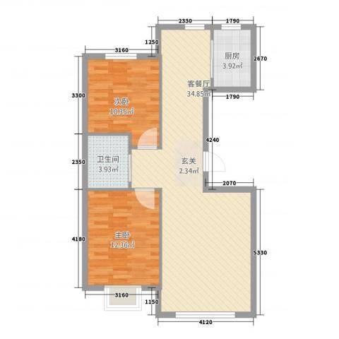 阳光世纪城2室1厅1卫1厨91.00㎡户型图