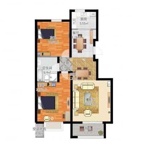 东升家园2室1厅1卫1厨127.00㎡户型图