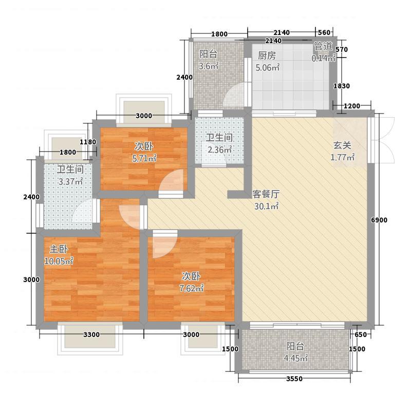 凌云・城市阳光8.00㎡方户型3室2厅2卫1厨