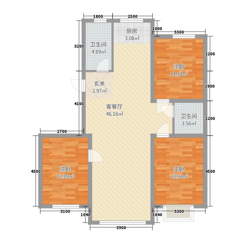 东信桃花源11.00㎡119户型3室2厅2卫