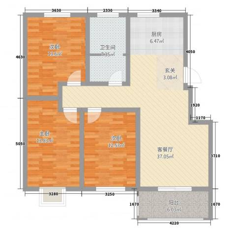 枫岭苑二期3室1厅1卫0厨129.00㎡户型图