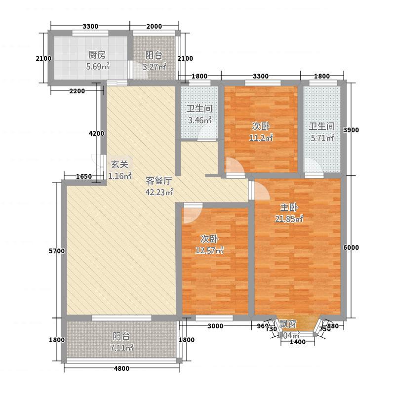 海联滨河帝景115.10㎡1号楼B户型3室2厅2卫1厨