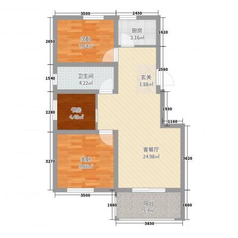 枫岭苑二期3室1厅1卫1厨85.00㎡户型图
