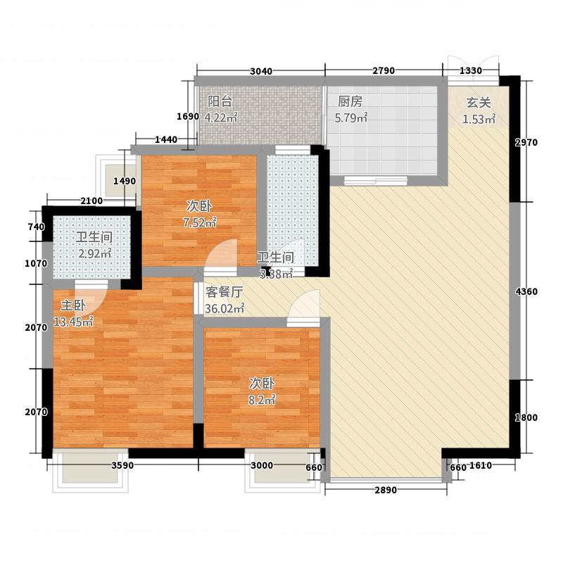 天恒花园Ⅲ期二单元三室双卫-_副本户型