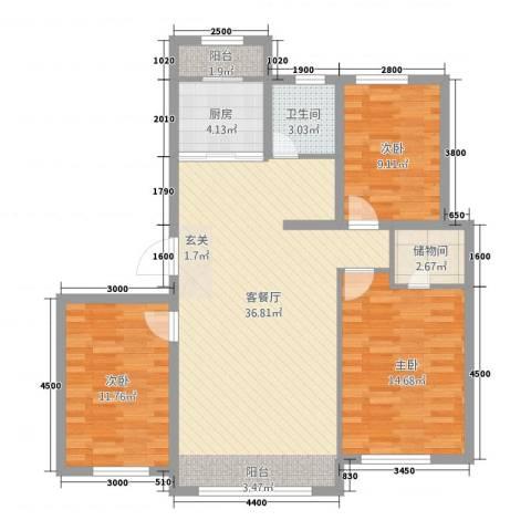 宗裕.悦府鑫城3室1厅1卫1厨113.00㎡户型图