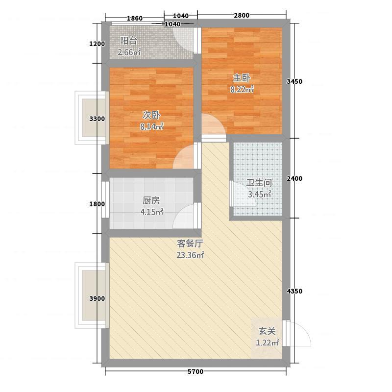 红星金座C1户型2室2厅1卫1厨