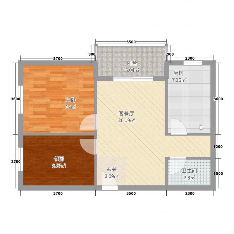 福寿居・老年公寓B-户型2室2厅1卫1厨