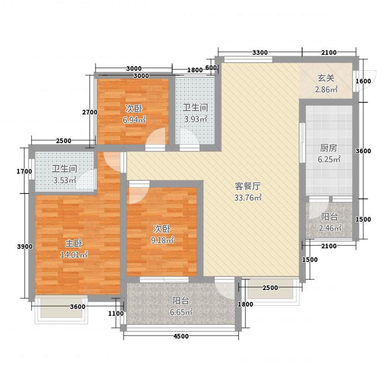 御景上城232117.31㎡A2型户型3室2厅2卫1厨