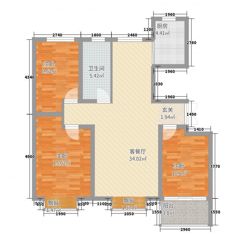 紫莲山庄117.12㎡d_副本户型3室2厅1卫