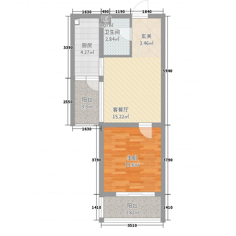 香樟西苑61.00㎡户型1室1厅1卫1厨