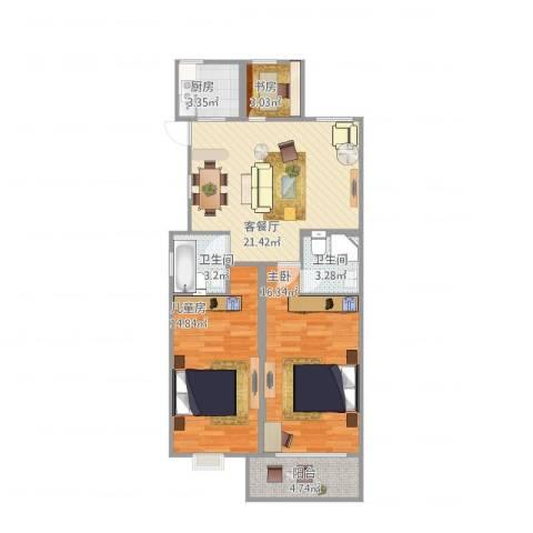 春江花城3室1厅2卫1厨89.00㎡户型图