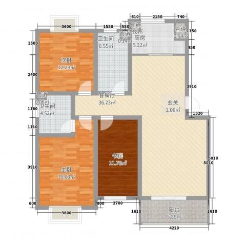 丰林花园3室1厅2卫1厨129.00㎡户型图
