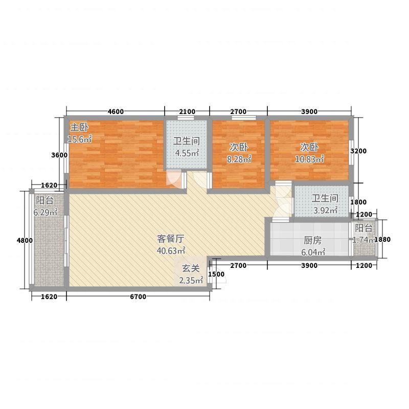 交大银座116.57㎡A型户型3室2厅2卫1厨