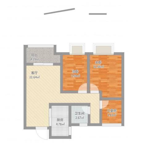 旭辉悦庭陈晶晶3室1厅1卫1厨85.00㎡户型图