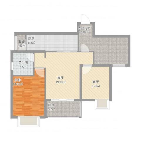 西双十贰城1室2厅1卫1厨104.00㎡户型图
