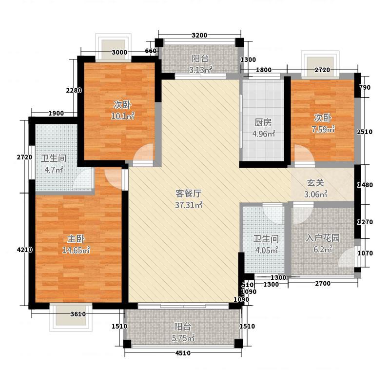 新外滩125.00㎡A2户型3室2厅2卫