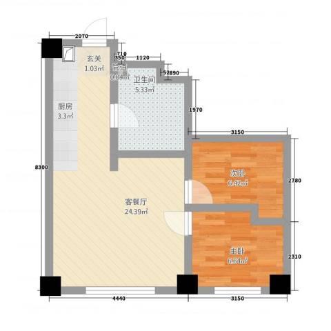 瑞盛・晶座2室1厅1卫0厨74.00㎡户型图