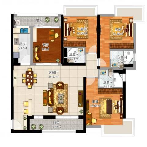 新世纪颐龙湾4室1厅3卫1厨154.00㎡户型图