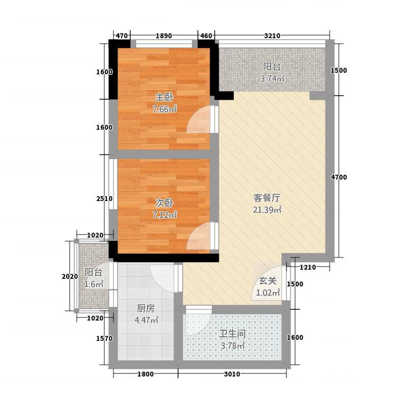 鹭岛广场221163.88㎡B户型2室1厅1卫1厨