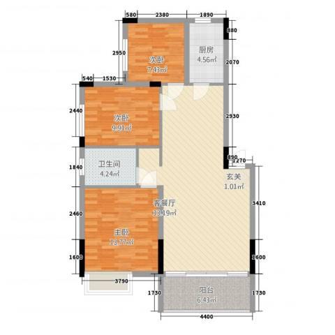 淮北凤凰城3室1厅1卫1厨79.53㎡户型图