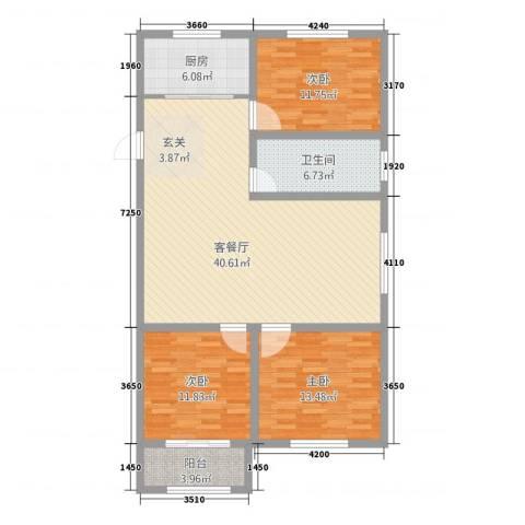 凯旋城3室1厅1卫1厨133.00㎡户型图