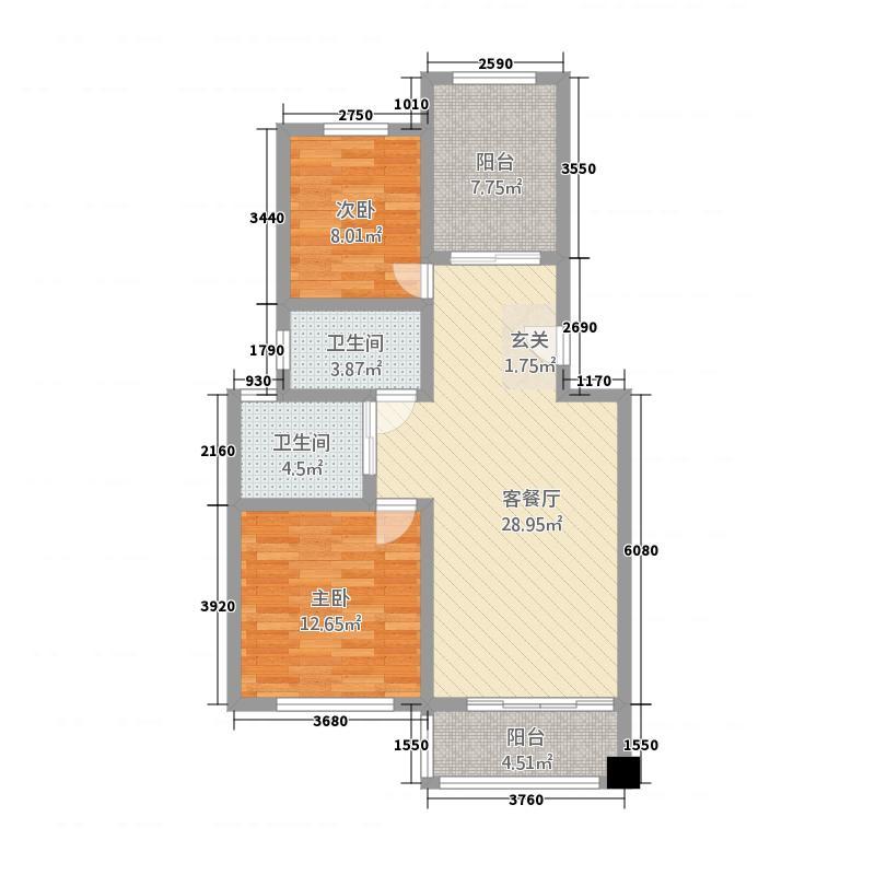 金地国际城11.86㎡D户型2室2厅1卫