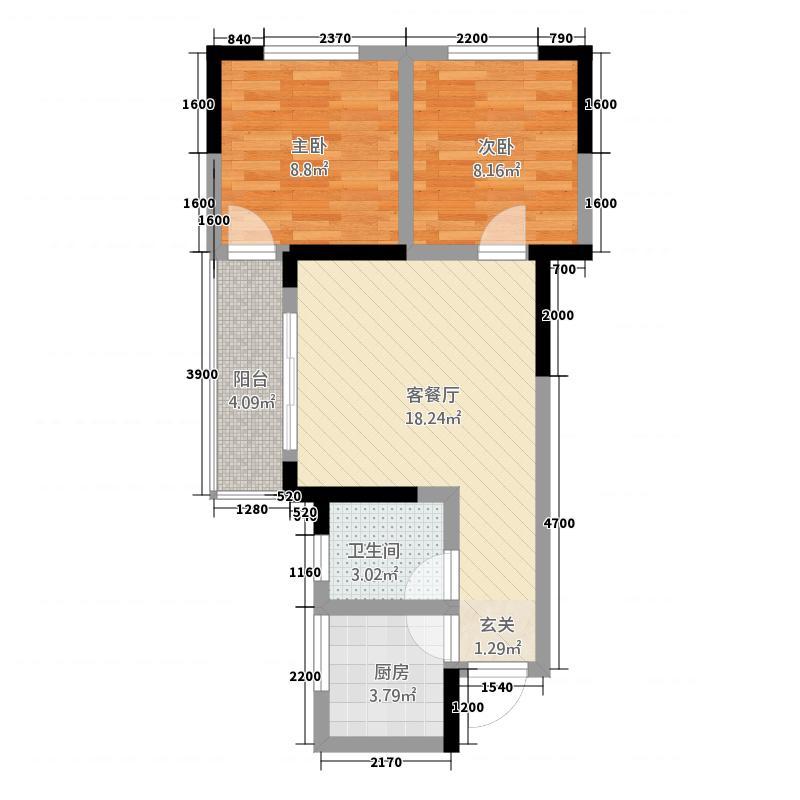鹭岛广场421164.19㎡B户型2室1厅1卫1厨