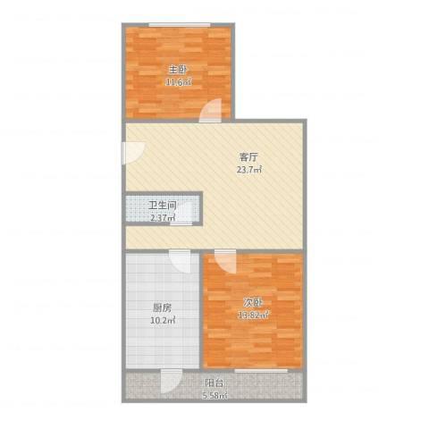 医专家属楼2室1厅1卫1厨91.00㎡户型图