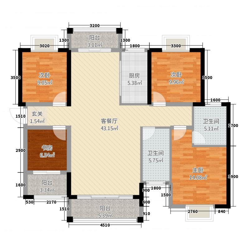 新外滩143.00㎡B2户型4室2厅2卫